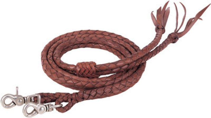 "Round Braided Latigo Split Reins, ½"" X 7'"
