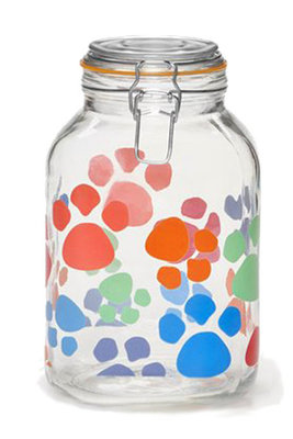 Kamenstein 101 oz Glass Treat Jar with Multicolor Paw Prints
