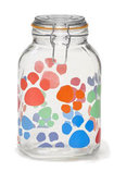 101 oz Glass Jar with Multicolor Paw Prints