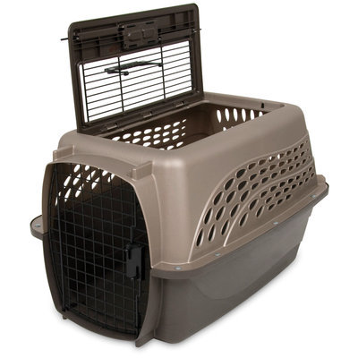 2-Door TOP LOAD Kennel, Metallic Pearl Tan/Coffee Grounds