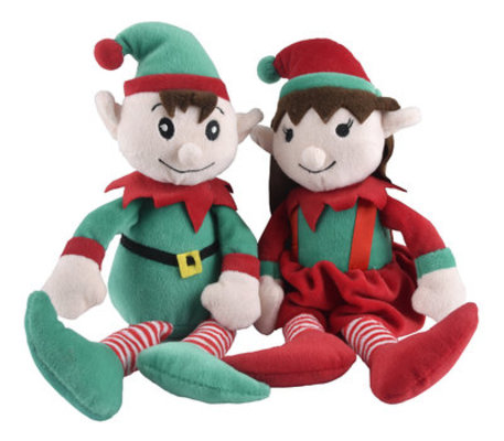 Plush Christmas Elf Dog Toy with Squeaker
