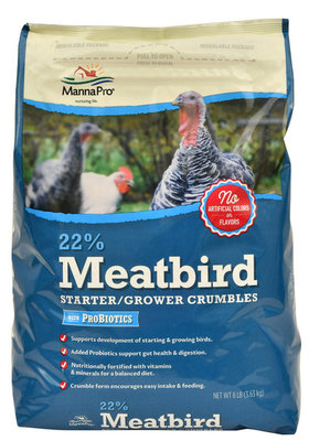 22% Meatbird Starter/Grower with Probiotics, 8 lb