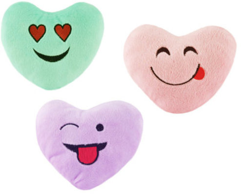 "Heart Emoji Dog Toys, 5"" - 3 pack"
