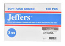 Jeffers Luer Lock Syringe/Needle Combo, Boxes