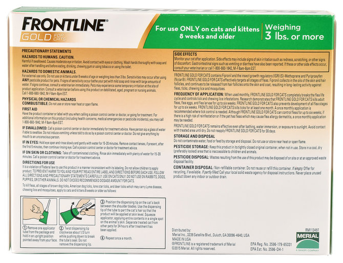 Frontline Gold For Cats 6 Pk Jeffers Pet