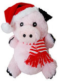 "6"" Plush Christmas Pig with Squeaker"