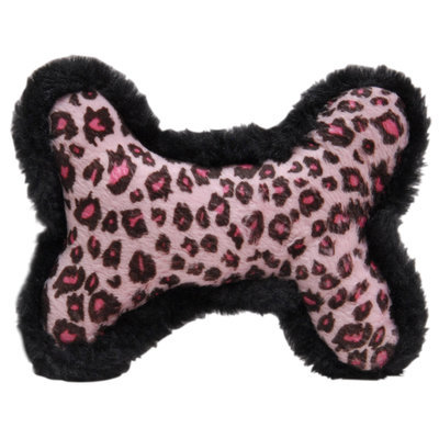 "Printed Plush Bone Squeak Toy, 6"" L"