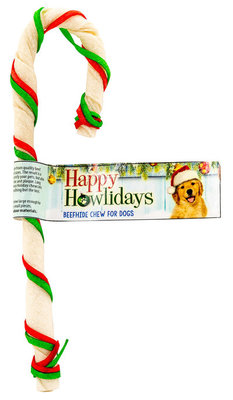 """7"""" Holiday American BeefHide Cane w/ Red & Grn Laces"""