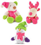 3-Pack Plush Bright Winter Dog Toys