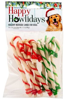 """9-pk, 5"""" Holiday RawHide Candy Canes w/ Rd/Grn Laces"""