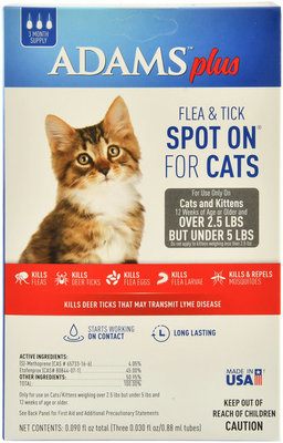 Adams Plus Flea & Tick Spot On for Cats, 3-pk
