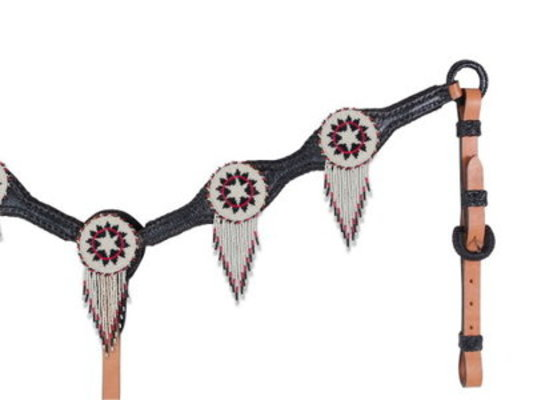 Beaded Concho with Fringe Tack, Breast Collar