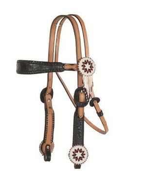 Beaded Concho with Fringe Tack, Headstall