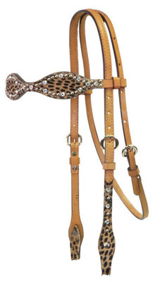 Scalloped Cheetah Tack, Headstall