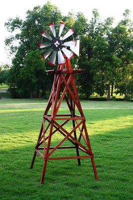 """Red & White Windmill, 8'3"""" Tall"""