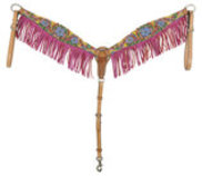 Bar H Floral Fringe Pink Breast Collar
