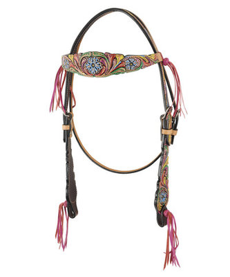 Bar H Floral Fringe Pink Browband Headstall, Full
