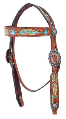 Bar H Hand-Painted Feather Headstall