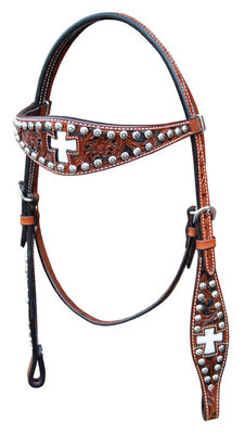 Full Size Bar H Inlay Cross Headstall w/ Sunspots, Chestnut