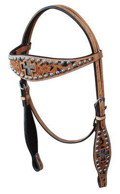 Full Size Bar H Inlay Cross Headstall w/ Sunspots, Natural
