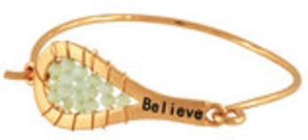 """Believe"" Bracelet in Worn Gold-tone with Light Green Beads"