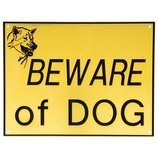 "Beware of Dog Plastic Sign (9"" x 11.75"")"