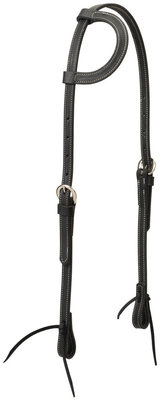 Black Latigo Leather Sliding Ear Headstall