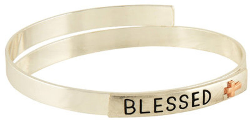 """""""Blessed"""" Two Tone Coil Bangle Bracelet"""