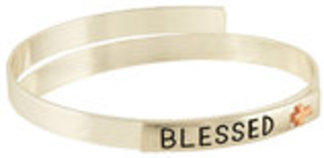 """Blessed"" Two Tone Coil Bangle Bracelet"