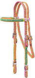 Braided Nylon Headstall with Crystals, Full