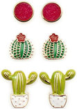 Cactus Earrings, 3 pack