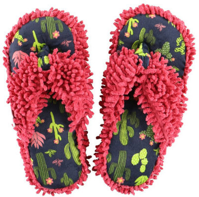 """Cactus"" Slippers, Navy/Pink"