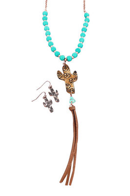 Cactus Tassel Necklace & Earring Set