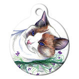 Color Sketch Cat, Custom ID Tag