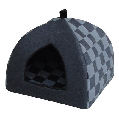 Checkered Hooded Pet Bed