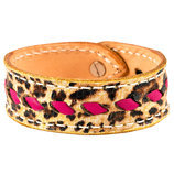 Buckstitch Bracelet, Cheetah & Pink