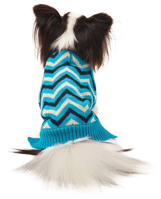 Blue Chevron Dog Sweaters with Fleece Lining