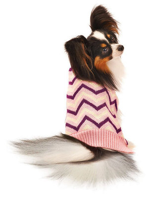Pink Chevron Dog Sweater with Fleece Lining