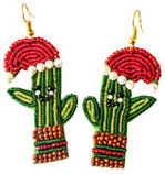 Christmas Cactus Seed Bead Earrings