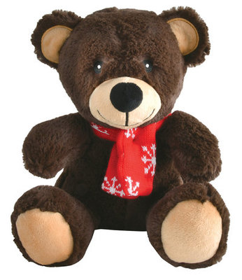 "Plush 12"" Teddy Bear with Snowflake Scarf"