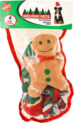 Christmas Toy Stockings for Dogs, 4-pack