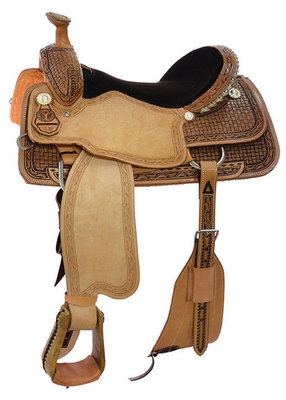 Circle Y Briscoe Roping Saddle, Wide Tree