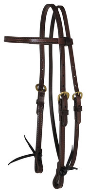 Circle Y Browband Headstall with Brass Hardware