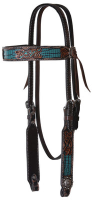 Circle Y Distressed Gator Browband Headstall