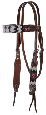 Circle Y Infinity Beaded Cross Headstall