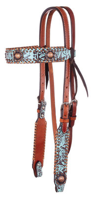 Circle Y Turquoise and Metallic Headstall