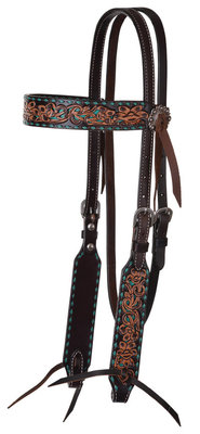 Circle Y Turquoise Buckstitch Browband Headstall