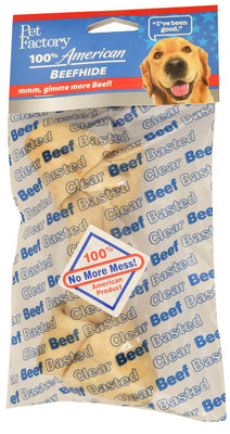 Clear Basted Beefhide Chew, 6""