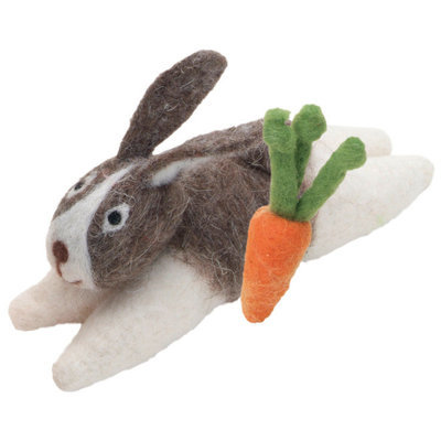 Rabbit & Carrot Wool Cat Toy