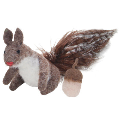 Squirrel & Nut Wool Cat Toy